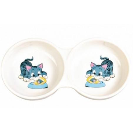 TRIXIE Miska ceramiczna dla kota podwójna 2x0,15L 4014