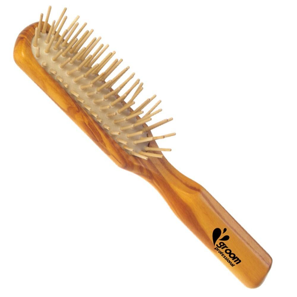 Groom Professional - szczotka antystatyczna z drewnianymi igłami, średnia