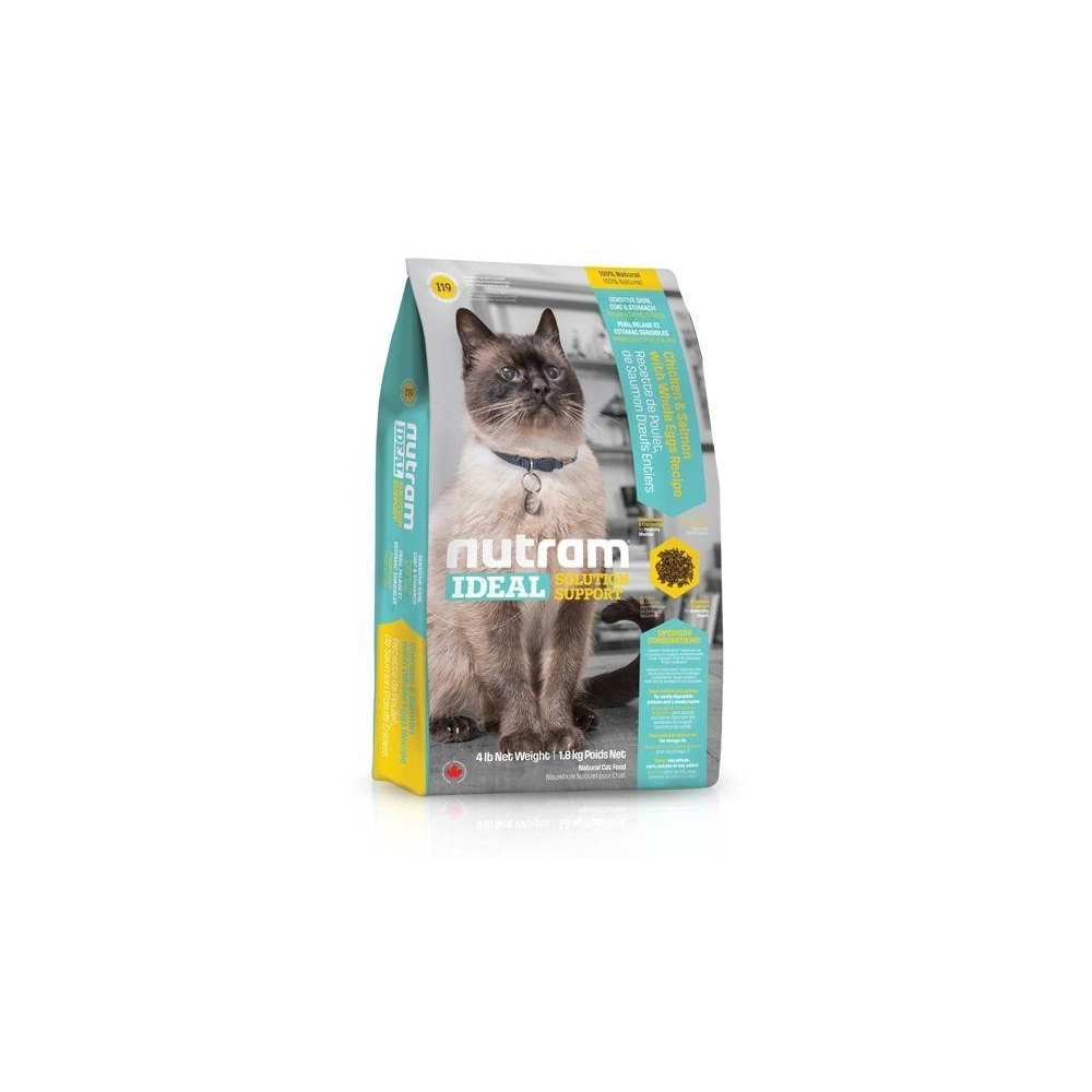I19 Nutram Ideal Solution Sensitive Skin, Coat and Stomach Cat 1,8 kg