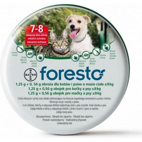 Bayer Foresto - Obroża przeciw pchłom i kleszczom dla psów i kotów o wadze do 8 kg