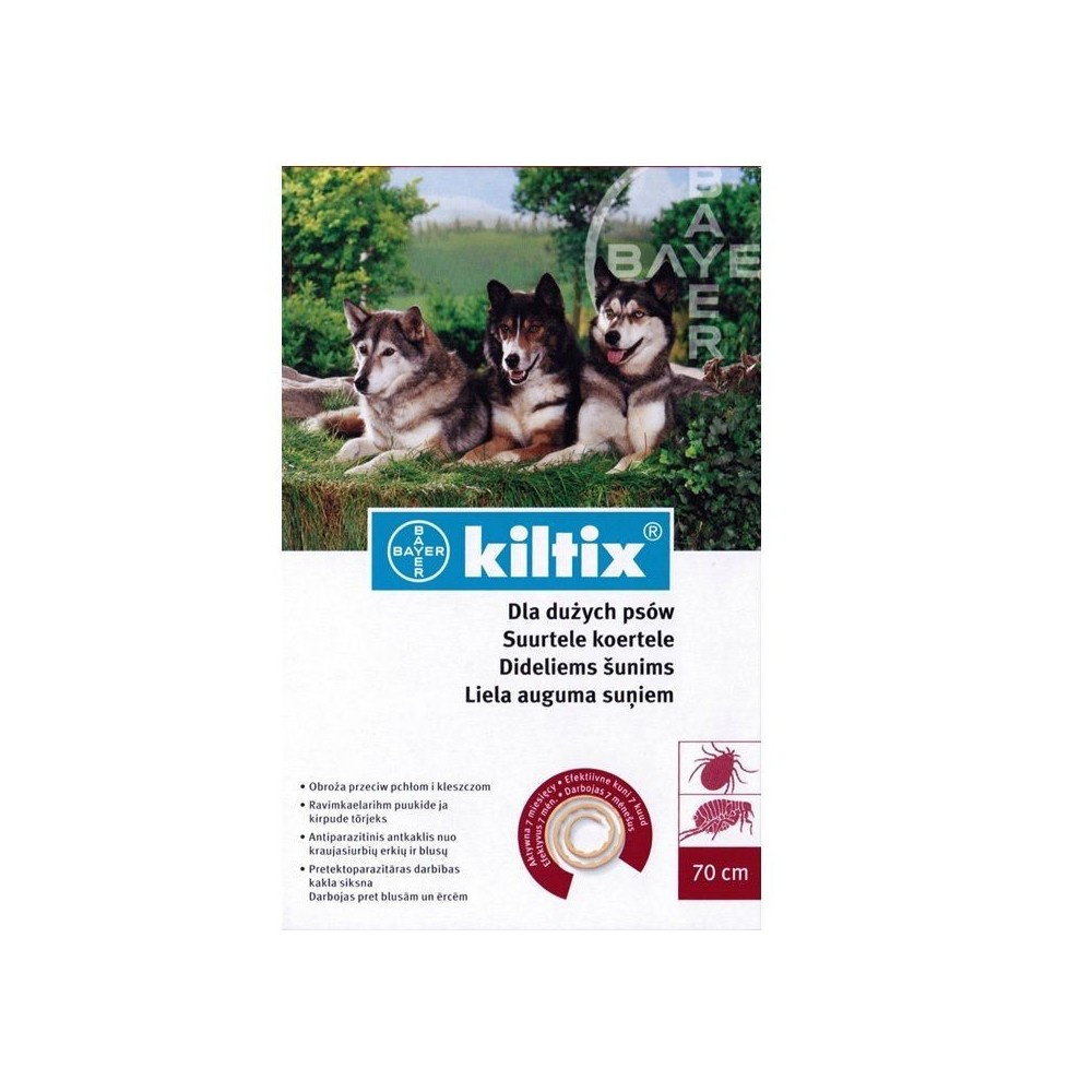 BAYER Kiltix - Obroża przeciwpchelna dla psów dużych (dł. 70 cm)